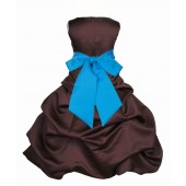 Brown/Malibu Satin Pick-Up Bubble Flower Girl Dress Occasions 806S