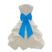 Ivory/Malibu Satin Pick-Up Bubble Flower Girl Dress Bridesmaid 808T