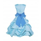 Spa Blue/Malibu Satin Pick-Up Bubble Flower Girl Dress 806S
