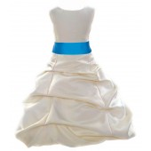 Ivory/Malibu Satin Pick-Up Bubble Flower Girl Dress Bridesmaid 806S