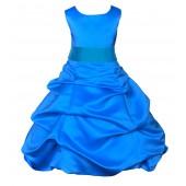 Royal Blue/Malibu Satin-Pick-Up Bubble Flower Girl Dress 806S