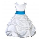 White/Malibu Satin Pick-Up Bubble Flower Girl Dress V2 806S