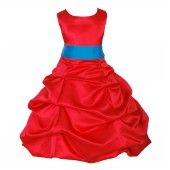 Red/Malibu Satin Pick-Up Bubble Flower Girl Dress Christmas 806S