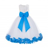 Ivory / Malibu Floral Lace Heart Cutout Flower Girl Dress with Petals 185T