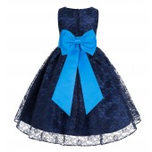 Navy Blue / Malibu Floral Lace Overlay Flower Girl Dress Elegant Beauty 163T
