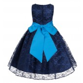 Navy / Malibu Floral Lace Overlay Flower Girl Dress Lace Dresses 163s