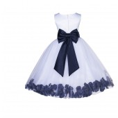 White/Marine Lace Top Tulle Floral Petals Flower Girl Dress 165T