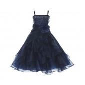 Marine Shimmering Organza Rhinestones Flower Girl Dress Occasions J120