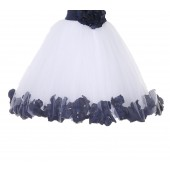 White / Marine Floral Lace Heart Cutout Flower Girl Dress with Petals 185T