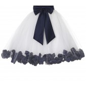 Ivory / Marine Floral Lace Heart Cutout Flower Girl Dress with Petals 185T