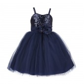 Marine Sequin Tulle Flower Girl Dress Special Occasions 1508S