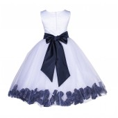 White/Marine Lace Top Tulle Floral Petals Flower Girl Dress 165S