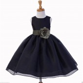 Black/Mercury Satin Bodice Organza Skirt Flower Girl Dress 841S