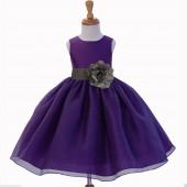 Purple/Mercury Satin Bodice Organza Skirt Flower Girl Dress 841S