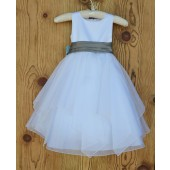 White/Mercury Satin Bodice Shimmering Organza Flower Girl Dress J012