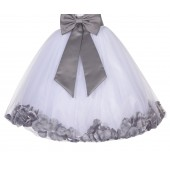 White / Mercury Gray Floral Lace Heart Cutout Flower Girl Dress with Petals 185T