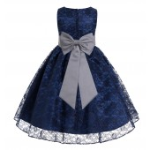 Navy Blue / Mercury Floral Lace Overlay Flower Girl Dress Elegant Beauty 163T