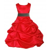 Red/Mercury Satin Pick-Up Bubble Flower Girl Dress Christmas 806S