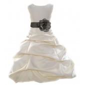 Ivory/Mercury Satin Pick-Up Bubble Flower Girl Dress Bridesmaid 808T