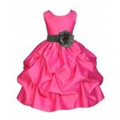 Fuchsia/Mercury Satin Pick-Up Flower Girl Dress Recital 208T