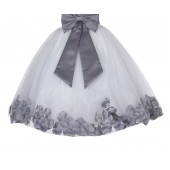 Ivory / Mercury Gray Floral Lace Heart Cutout Flower Girl Dress with Petals 185T