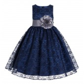 Navy / Mercury Floral Lace Overlay Flower Girl Dress Lace Dresses 163s