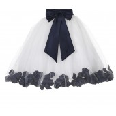 Ivory / Midnight Floral Lace Heart Cutout Flower Girl Dress with Petals 185T