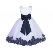 White/Midnight Lace Top Tulle Floral Petals Flower Girl Dress 165T