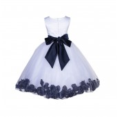 White/Midnight Lace Top Tulle Floral Petals Flower Girl Dress 165S