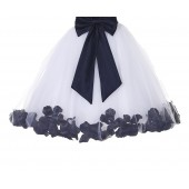 White / Midnight Floral Lace Heart Cutout Flower Girl Dress with Petals 185T