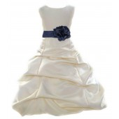 Ivory/Midnight Satin Pick-Up Bubble Flower Girl Dress Bridesmaid 808T