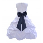 White/Midnight Satin Pick-Up Bubble Flower Girl Dress Wedding 808T