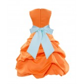 Orange/Mint Satin Pick-Up Bubble Flower Girl Dress Halloween 806S