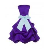 Cadbury Regency/Mint Satin Pick-Up Bubble Flower Girl Dress 806S