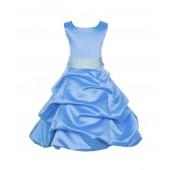Turquoise/Mint Satin Pick-Up Bubble Flower Girl Dress Recital 806S