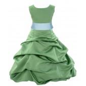Clover Green/Mint Satin Pick-Up Bubble Flower Girl Dress 806S