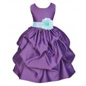 Purple/Mint Satin Pick-Up Flower Girl Dress Princess 208T