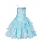 Mint Rhinestone Organza Layers Flower Girl Dress Elegant Stunning 164S