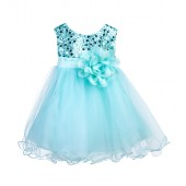 Mint Glitter Sequin Tulle Flower Girl Dress Formal Princess B-011NF