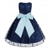 Navy / Mint Floral Lace Overlay Flower Girl Dress Lace Dresses 163s