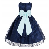 Navy Blue / Mint Floral Lace Overlay Flower Girl Dress Elegant Beauty 163T