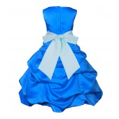 Royal Blue/Mint Satin-Pick-Up Bubble Flower Girl Dress 806S