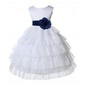 White/Navy Satin Shimmering Organza Flower Girl Dress Wedding 308S
