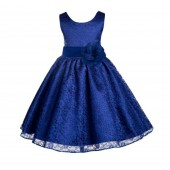 Navy Blue Floral Lace Overlay Flower Girl Dress Formal Beauty 163S