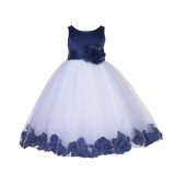 Navy Blue Floral Rose Petals Tulle Flower Girl Dress 167S