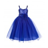 Navy Blue Spaghetti-Straps Sequin Tulle Flower Girl Dress Stunning B-1508NF