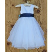 White/Navy Satin Bodice Shimmering Organza Flower Girl Dress J012