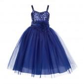 Navy Blue Spaghetti-Straps Sequin Tulle Flower Girl Dress Stunning B-1508NF