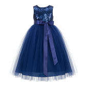 Navy Blue Sequin Heart Cutout Tulle Flower Girl Dress 172seq