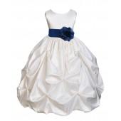Ivory/Navy Satin Taffeta Pick-Up Bubble Flower Girl Dress 301S